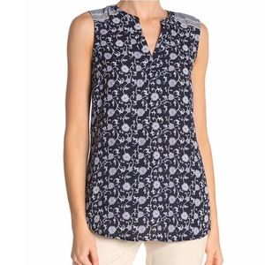 Adrianna Papell Blue Floral Mix Pattern Top